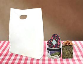 HDPE(カシャカシャ) 印刷無し 手提げ袋(横マチ有り) サイズ詳細! 片面1色のみ300枚から印刷可能
