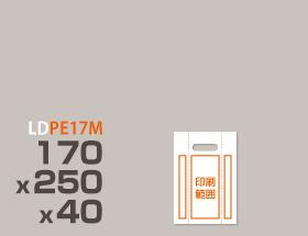 LDPE(ツルツル) 手提げ袋(横マチ有り) PE17M 170 x 250 x 40mm